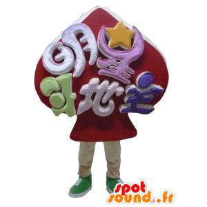 Mascot roten Spaten, Kartenspiel-Maskottchen - MASFR24314 - Maskottchen von Objekten