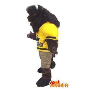 Ruskea buffalo maskotti keltaista paitaa