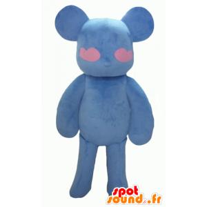 Mascotte de nounours bleu et rose, avec des cœurs - MASFR24325 - Mascotte d'ours
