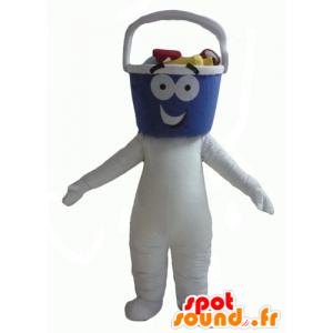 Witte sneeuwman mascotte met een emmer-vormige kop - MASFR24329 - Niet-ingedeelde Mascottes