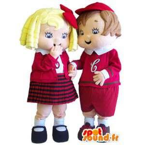 Mascot couple child schoolchildren. Pack of 2 - MASFR006664 - Mascots child