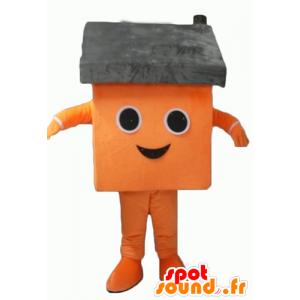 Mascotte de maison orange et grise, géante