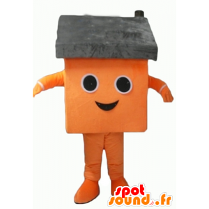 Oransje huset maskot og grå giganten - MASFR24339 - Maskoter Hus
