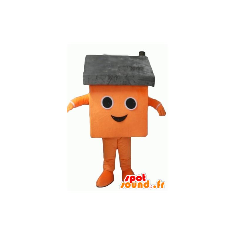 Oranžová dům maskot a šedé obří - MASFR24339 - maskoti dům
