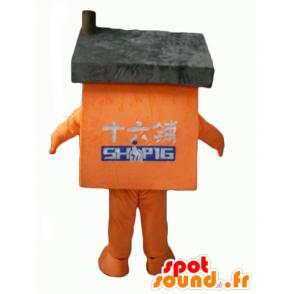 Oranje huis mascotte en grijze reus - MASFR24339 - mascottes Huis