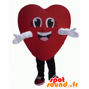 Mascot red heart, giant and smiling - MASFR24340 - Valentine mascot