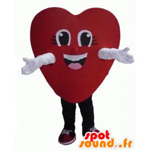 Mascotte de cœur rouge, géant et souriant - MASFR24340 - Mascotte Saint-Valentin