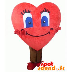 Coração vermelho mascote, gigante e bonito - MASFR24343 - mascote dos namorados