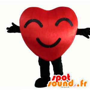 Mascot red and black heart, giant and smiling - MASFR24344 - Valentine mascot