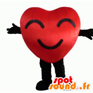 Mascotte de cœur rouge et noir, géant et souriant - MASFR24344 - Mascotte Saint-Valentin