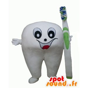 Mascot giant white tooth with a toothbrush - MASFR24348 - Mascots unclassified