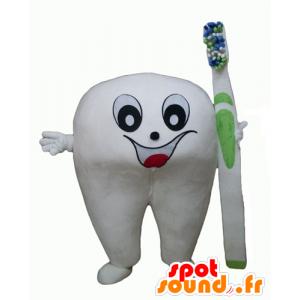 Maskotti jättiläinen valkoinen hammas hammasharja - MASFR24348 - Mascottes non-classées