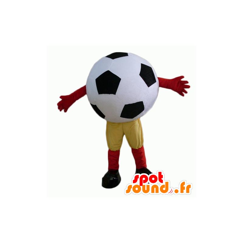Giant voetbal mascotte, zwart en wit - MASFR24355 - mascottes objecten