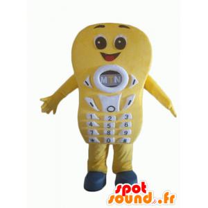 Geel mobiele telefoon mascotte, reus en glimlachen