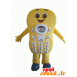Yellow cell phone mascot, giant and smiling - MASFR24362 - Mascottes de téléphone