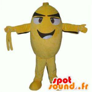 Maskot gul og sort fugl, oval snemand, smilende - Spotsound