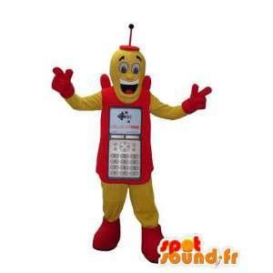 Rood en geel mobiele telefoon mascotte