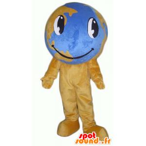Mascot braune und blaue Karte der Welt, Riesen- - MASFR24372 - Maskottchen von Objekten