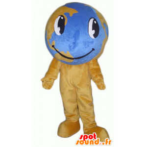 Mascotte de mappemonde marron et bleue, géante - MASFR24372 - Mascottes d'objets
