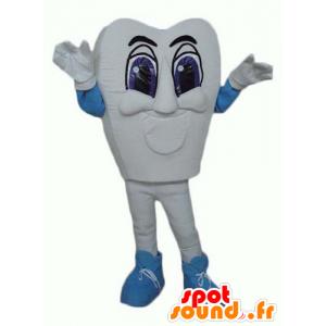 Mascot wit en blue tooth, gigantische en indrukwekkende - MASFR24373 - Niet-ingedeelde Mascottes