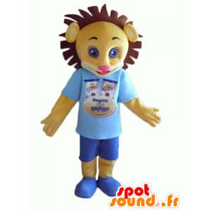 Maskottgul och brun lejongröngöling, i blå outfit - Spotsound