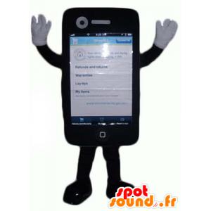 Maskot mobilní telefon dotykový černý gigant