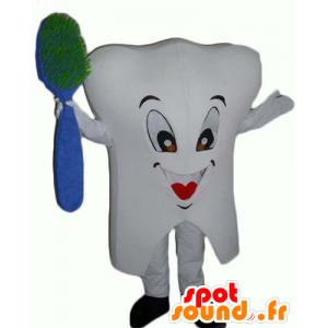 Weiß Zahn-Maskottchen, riesig, mit einem Pinsel - MASFR24376 - Maskottchen nicht klassifizierte