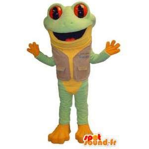 Mascotte de grenouille verte et jaune. Costume de grenouille