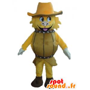 Mascotte de chien jaune, dans un tonneau, avec un chapeau - MASFR24381 - Mascottes de chien