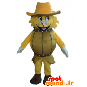 Yellow Dog Mascot, tynnyrissä hattu - MASFR24381 - koira Maskotteja