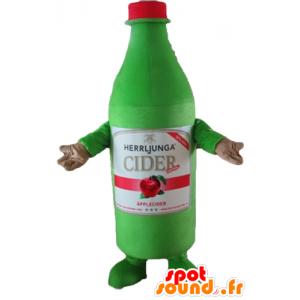 Grüne Flasche Apfelwein Maskottchen Riesen