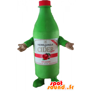 Mascotte de bouteille verte de cidre, géante