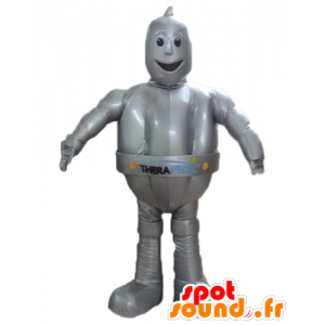 Mascot metallic gray robot, giant and smiling - MASFR24385 - Mascots of Robots