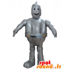 Mascot metallin harmaa robotti, jättiläinen ja hymyilevä
