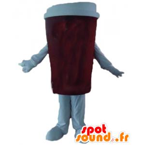 Kopje koffie mascotte, rood en wit - MASFR24391 - mascottes objecten