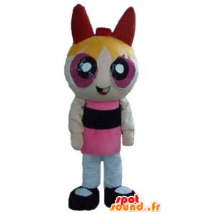 Blonde jenta maskot, den animerte Super Girls tegning - MASFR24394 - superhelt maskot