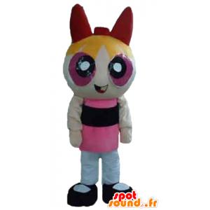 Blondi tyttö maskotti, animoitu Super Girls piirustuksen - MASFR24394 - supersankari maskotti