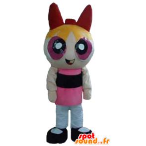 Blonde girl mascot, the animated Super Girls drawing - MASFR24394 - Superhero mascot