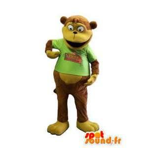 Macaco mascote marrom com uma camisa verde