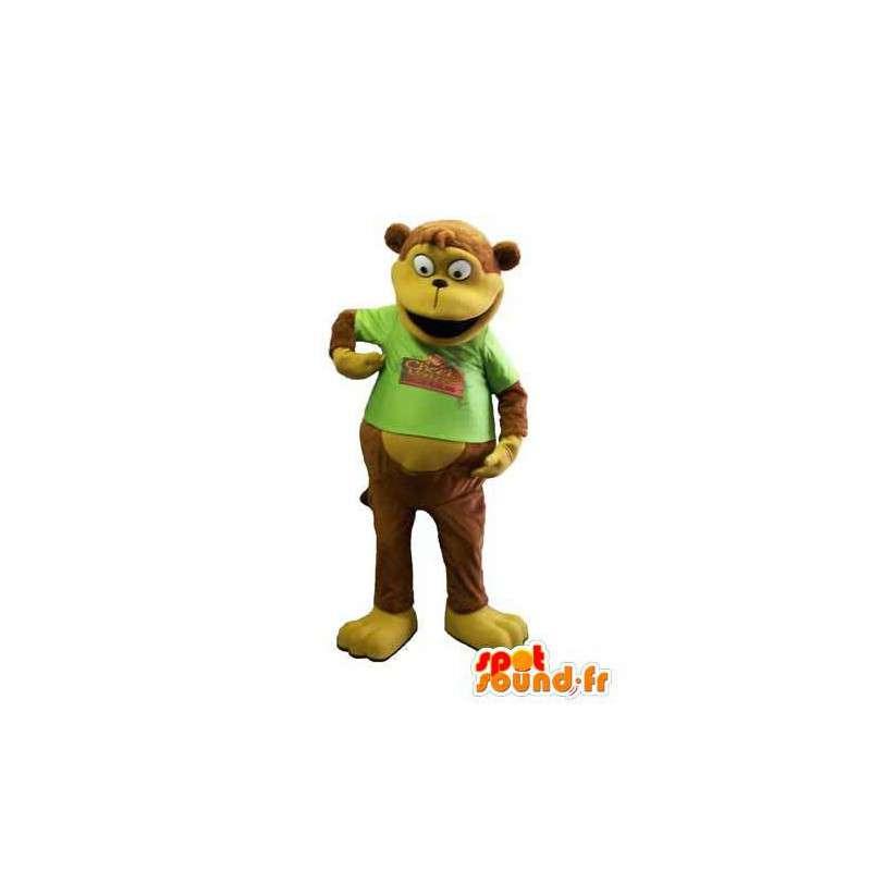 Mascotte de singe marron avec un t-shirt vert - MASFR006682 - Mascottes Singe