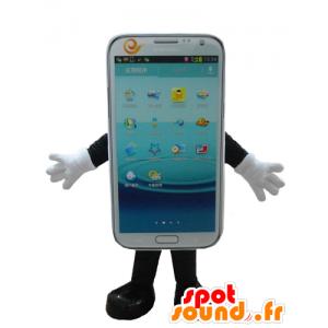 Mascotte de téléphone portable blanc, à écran tactile