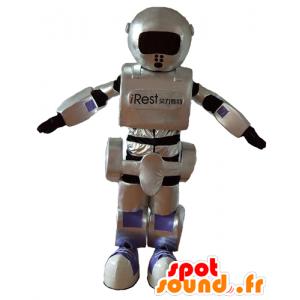 Mascota robot, gris, negro y púrpura, gigante, de gran éxito