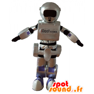 Roboter-Maskottchen, grau, schwarz und lila, riesig, sehr erfolgreich