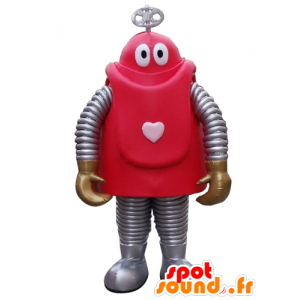 Maskotka z czerwonym i szarym robota kreskówki - MASFR24403 - maskotki Robots