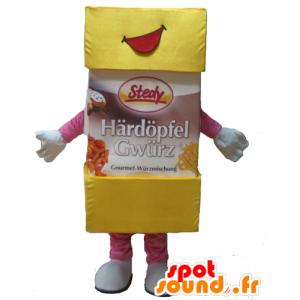 Mascotte Puderzucker, Puderzucker, gelb und rosa - MASFR24413 - Maskottchen von Objekten