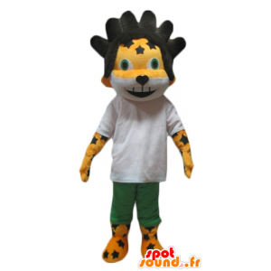 Mascot yellow and white lion, tiger, black hair - MASFR24426 - Lion mascots