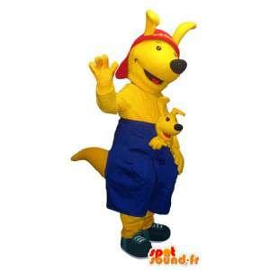 Keltainen kenguru maskotti. kenguru puku