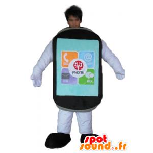 Mascot mobiele telefoon touch zwarte reus