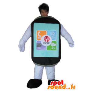 Mascotte tocco del telefono mobile gigante nero - MASFR24442 - Mascottes de téléphone