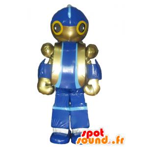 Robot mascotte, blauw en gouden speelgoed reus